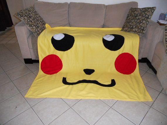 Giant Pikachu face fleece blanket pokemon by Stitch3d on Etsy, $55.00