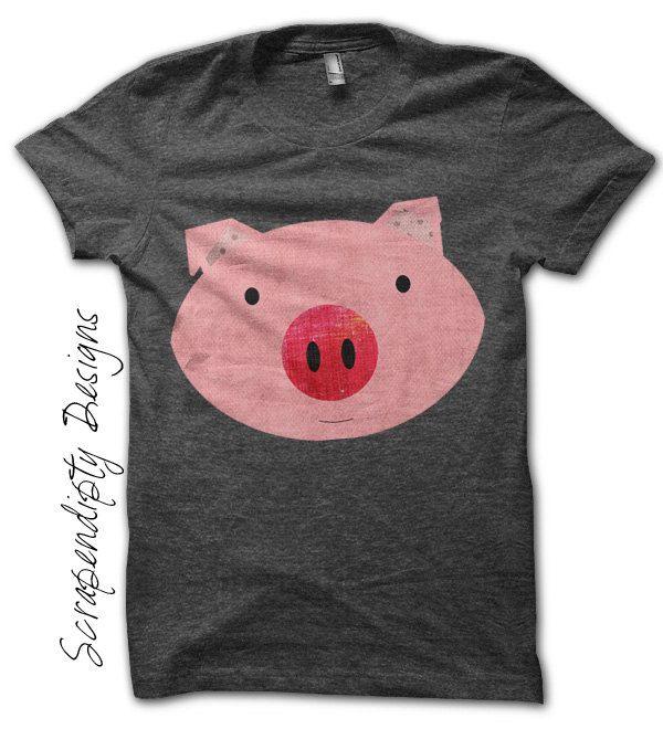 Pink Pig Iron on Transfer - Farm Animals Iron on Tshirt PDF / Girls Pig Shirt / DIY Hippie Baby Clothes / Kids Boys Clothing Top IT25. $2.50, via Etsy.