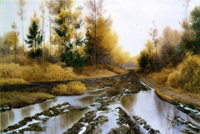Акварельные пейзажи художника Taoshi Hu