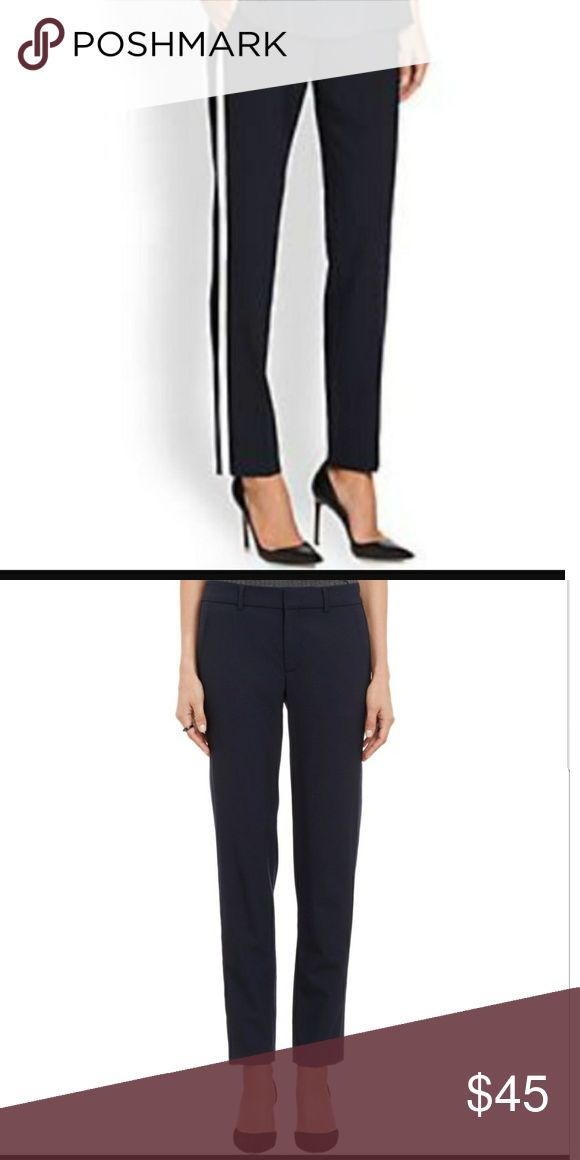 """VINCE Dark Navy Tuxedo Stripe Pant 10 VINCE Dark Navy Tuxedo Stripe Pants, size 10. 29"""" inseam, 27"""" waist. Super cute cropped style! 96% Wool, 4% Spandex. Excellent preowned condition. No trades. Vince Pants Ankle & Cropped"""