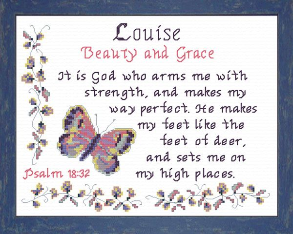 Louise - Name Blessings Personalized Cross Stitch Design ...