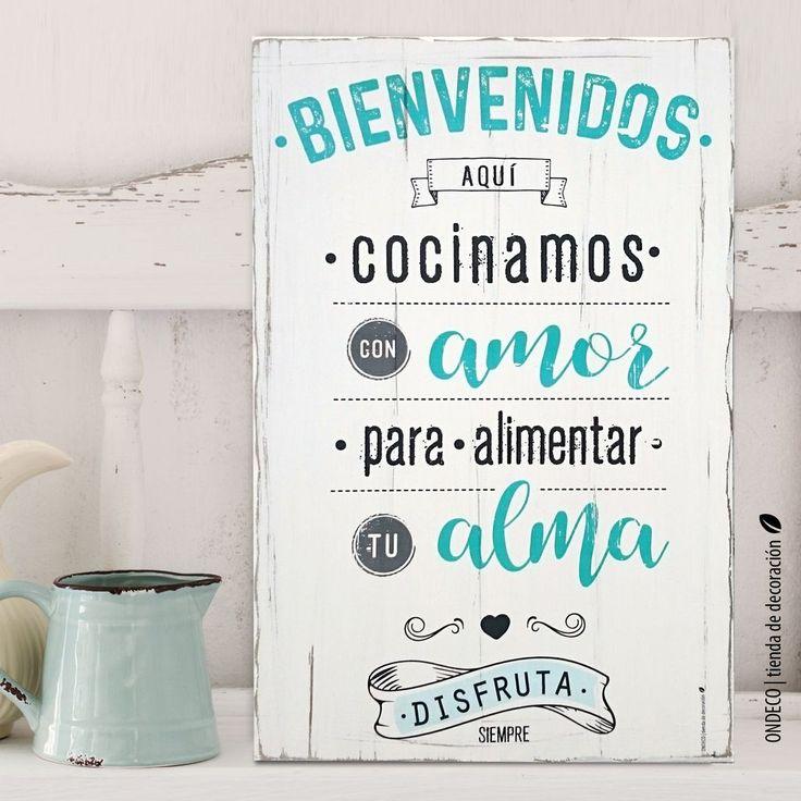 Cuadro con frase - Bienvenidos aquí cocinamos con amor