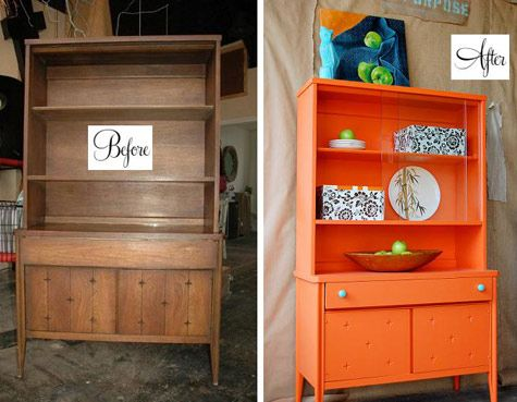 furniture makeovers. paint always ALWAYS wins over wood for me.Modern Furniture, Old Furniture, Painting Cans, Furniture Makeovers, Cabinets Makeovers, Painting Furniture, Diy Furniture, Hutch Redo, Wine Cabinets