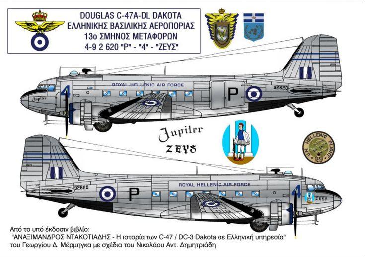 Drawing of RHAF C-47 'Zeus'