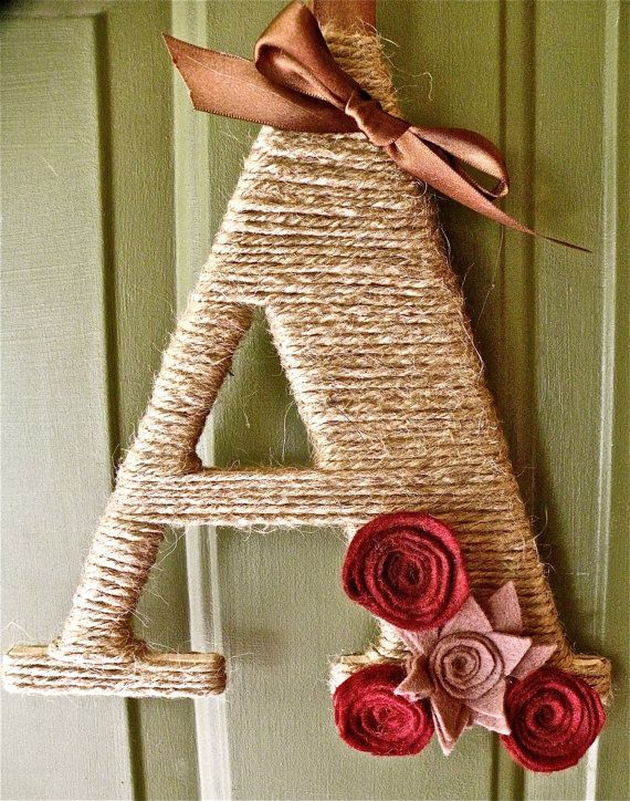 Twine Monogram Fall Wreath with handcrafted felt flowers