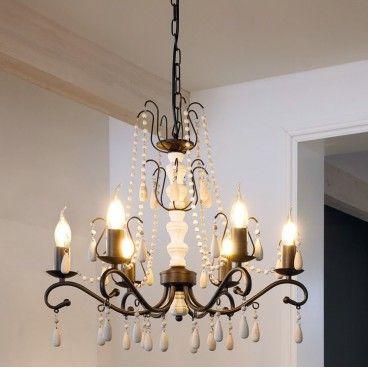 Żyrandol Chattisham 6 ramienny białe drewno brązowy metal styl vintage do sypialni salonu jadalni - LampyTanie - 619,90 PLN