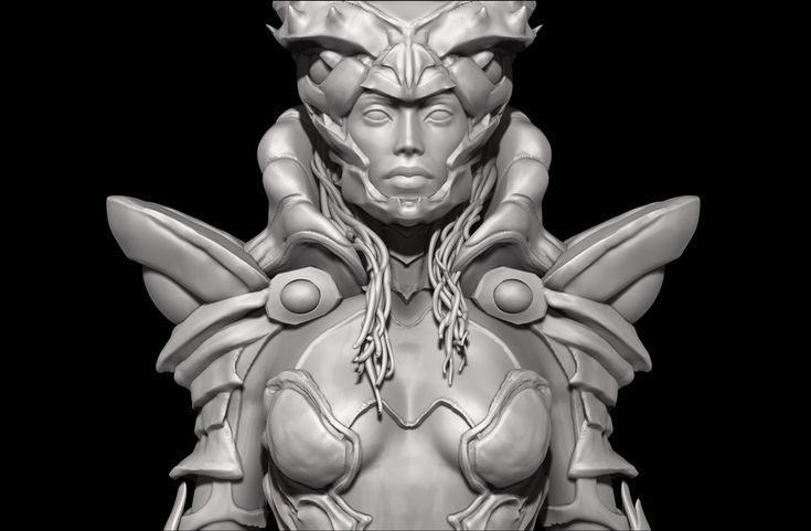 Realistic miniature humaniod female alien soldier model. Mini-sculpture for 3D printing