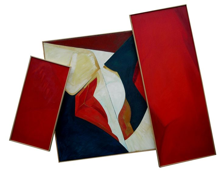 abstract oil on canvases