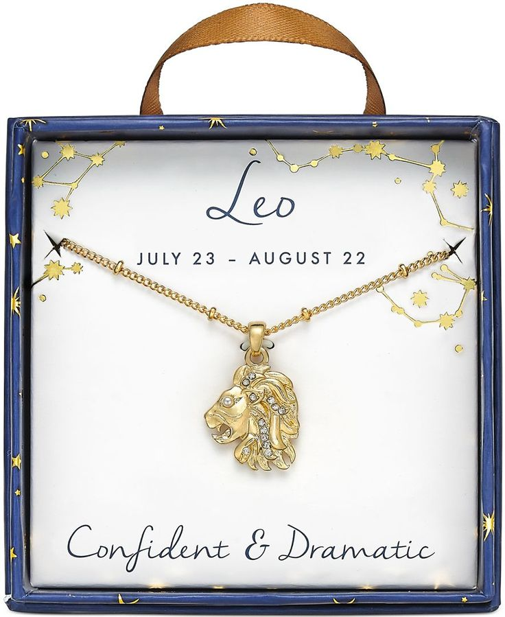 Macy's Leo Gold-Tone Crystal and Faux-Pearl Zodiac Pendant Necklace