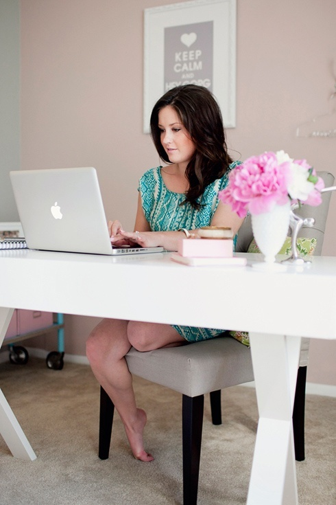 Girl Cave. So pretty and feminine--and on a budget! #office