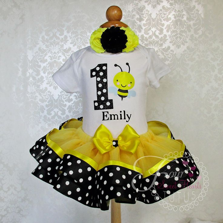 Bee First Birthday Outfit, Girls First Birthday Tutu, Girls Bee Birthday Outfit, It's My Bee Day Outfit, Bumble Bee Birthday Set by FourSweetHeartsTutus on Etsy https://www.etsy.com/listing/243461593/bee-first-birthday-outfit-girls-first