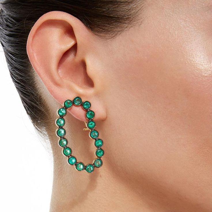 Ana Khouri green Lourdes earrings set with Gemfields emeralds. http://www.thejewelleryeditor.com/shop/product/ana-khouri-lourdes-emerald-earrings/ #jewelry