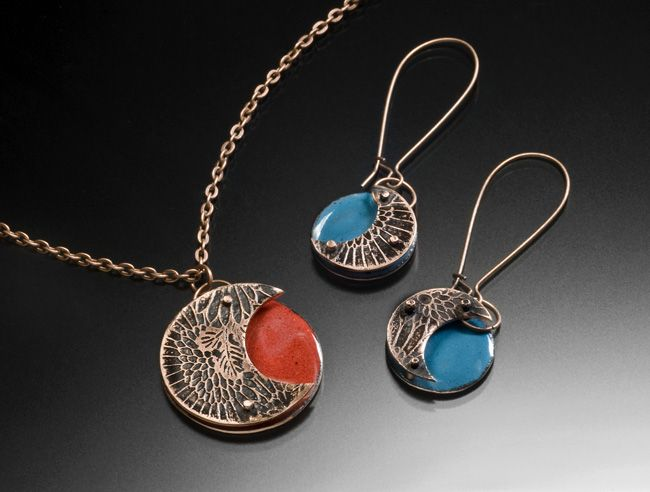 Moon Flower Pendant and Earrings: Etched, Enameled, and Riveted Copper, https://www.etsy.com/listing/209473896/moon-flower-pendant-hand-etched-enamel?ref=shop_home_active_4
