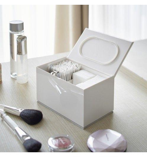boite rangement maquillage coton blanche yamazaki. Black Bedroom Furniture Sets. Home Design Ideas