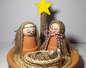 Clay Pot Nativity Scene Holiday Decor, Christmas Nativity Set