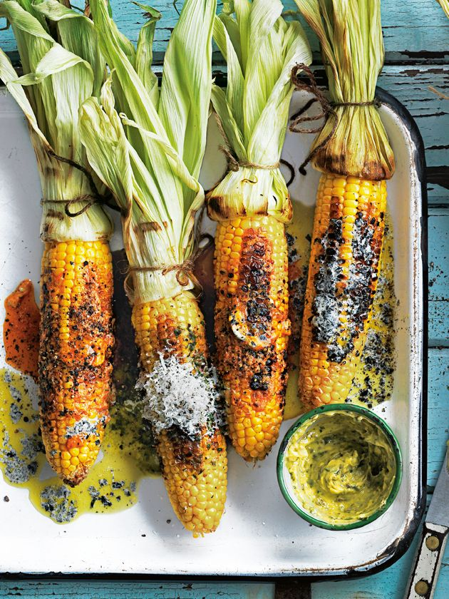 barbecued corn with a trio of butters - (nori butter)