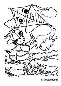 Vliegeren, kleurplaat voor kleuters, thema Zeeland, kleuteridee.nl, kite coloring page, free printable.
