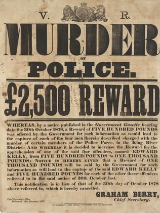 The wanted poster for Ned Kelly's capture. Picture: State Library of NSW