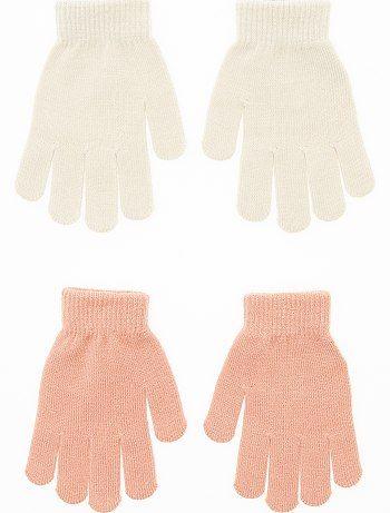 Lot de 2 paires de gants vieux rose/beige Fille - Kiabi