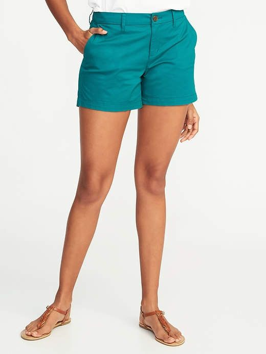 0d91f182f2319 Relaxed Mid-Rise Everyday Khaki Shorts For Women - 3.5 inch inseam ...