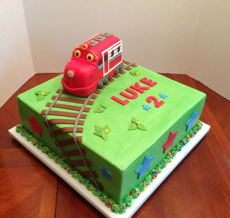 Chuggingtons cake. Train made of rice cereal treats.