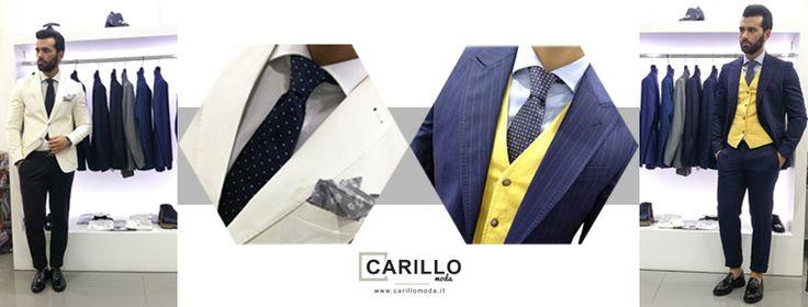 Abito uomo blu gessato BRIAN DALES Gilet in cotone color senape BRIGLIA Scarpe in pelle Bordeaux CARILLO SHOES Camicia celeste a nido d'ape CARILLO CAMICIE Cravatta fantasia fiori ------------------- Giacca in lino bianca BESPOKE Pantalone tasca america BERWICH Camicia bianca CARILLO CAMICIE Cravatta pois blu EREDI CHIARINI Completo | uomo | dandy | fashion | estate | 2017 |