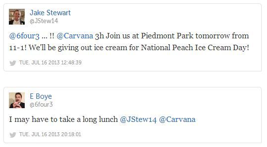 National Peach Ice Cream Day: http://blog.carvana.com/index.php/2013/07/random-acts-of-carvana-national-peach-ice-cream-day/