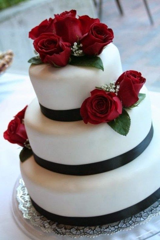 I Heart Cakes Blackwhitered Wedding Cake For Red Black And White Wedding Cakes