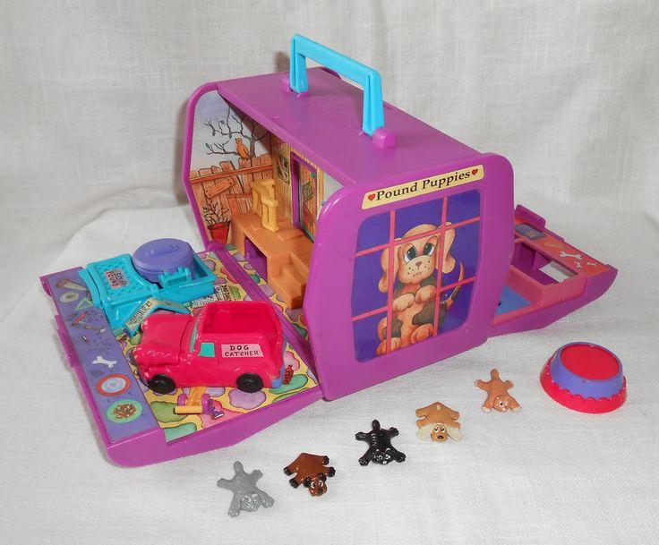 VTG 1995 Purple Pound Puppies Carrier Playset 5 Puppies