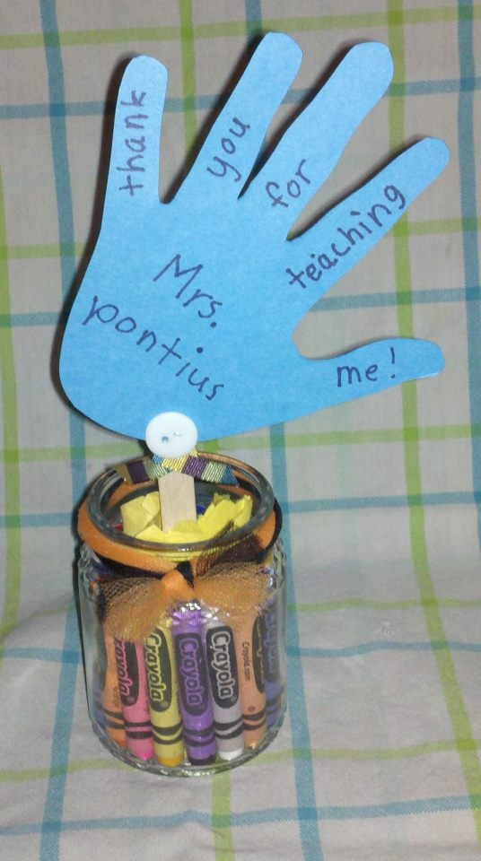 what you need:  -5oz heritage jar. Burn your scent (lasts 25-30hrs). Wash and reuse jar.  -crayons- chop tips off and place inside-edge the entire side.  -scrapbooking paper: draw your child's hand and write on it.  -popsicle stick- hot glue gun the hand to the stick.  -construction paper: put inside jar in middle place stick in jar.    decorate it! :)