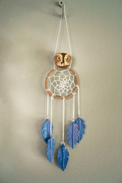 handmade, polymer clay dream catcher owl with feathers