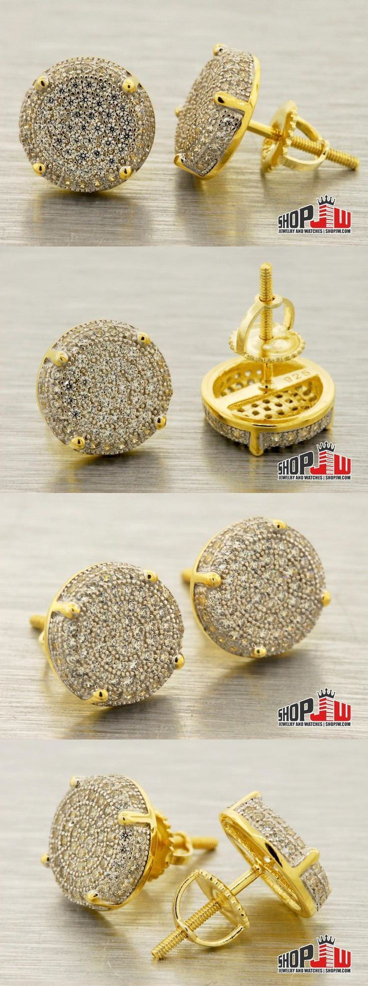 Earrings Studs 14085: Yellow Gold Finish .925 Silver Screw Back Earrings Round Micro Pave 10Mm Hip Hop -> BUY IT NOW ONLY: $35 on eBay!