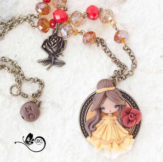 collana Belle / disney fimo / zingara creativa di ZingaraCreativa