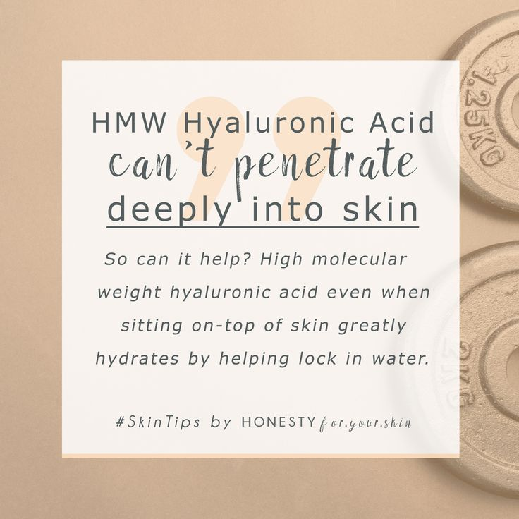 High molecular weight hyaluronic acid might not be able to go deep into your skin but the beauty still have amazing skin benefits. High molecular weight hyaluronic acid hydrates extremely effectively even when sitting in your skin's top layers. Click the #SkinTip to learn why high molecular weight hyaluronic acid is better than the very small stuff.