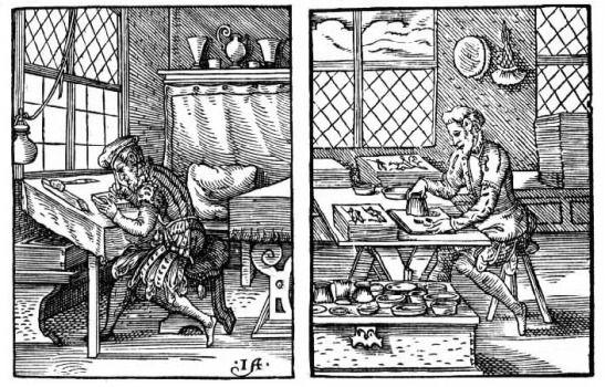 Xilogravuras do século XVI ilustrando a produção da xilogravura. No primeiro: Esboçando a gravura. Segundo: Usando um buril para cavar o bloco de madeira que receberá a tinta.