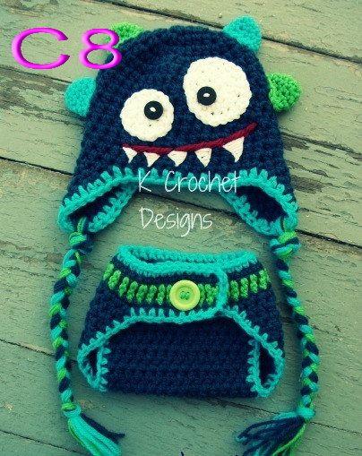 Envío gratis, hechos a mano de ganchillo sombrero azul oscuro monstruo y cubierta del pañal set Newborn apoyo de la foto tamaño meses