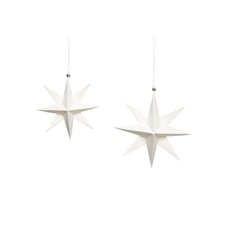White handfolded paper Christmas stars in a set of 2. Item number: 430310 - Designed by Hübsch