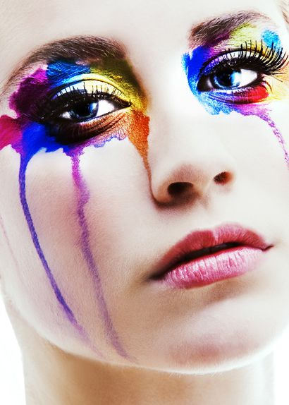 rainbow tearsFace, Fashion Beautiful, Eye Makeup, Rainbows Tears, Colors, Art Piece, Makeup Art, Eyemakeup, Beautiful Photography