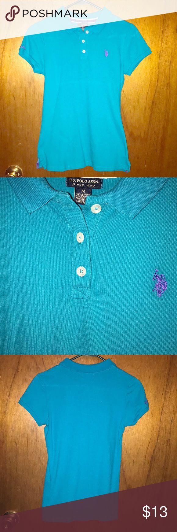 Teal/blue polo collared shirt The polo is a pretty blueish green color. It has a purple logo on the front and one side sleeve. Soft fabric, only worn a few times. ❤️Make me an offer❤️ U.S. Polo Assn. Tops Blouses