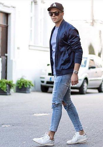 【カーディガン代わり】薄手MA-1×ジーンズの春コーデ(メンズ) | Italy Web
