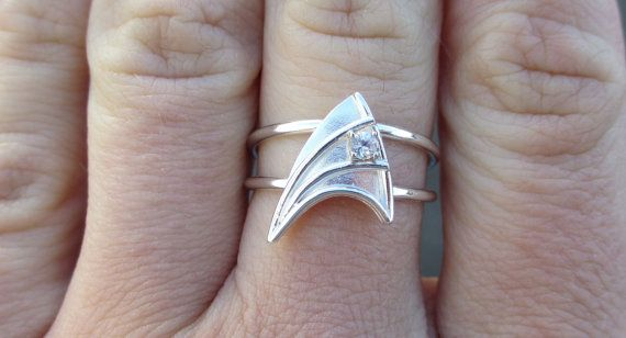 Sterling Silver Engagement Ring with White Sapphire Star Trek Insignia Inspired  Made To Order