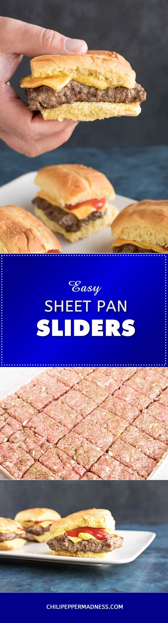 Easy Sheet Pan Sliders - Using a sheet pan helps to form perfectly shaped slider burgers. Just season the meat, press it into a sheet pan, slice and cook. Here is the method and recipe.