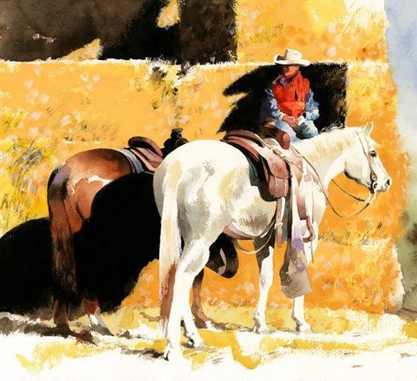 """Художник и художник Дон Веллера """"В ожидании Его ездить с его поездкой,"""" Оригинал прекрасно западное искусство акварель ковбой живопись лошад..."""