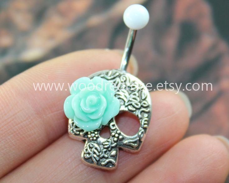 Day Of The Dead, lovely Flower Skull Belly Button Rings,Sugar Skull Navel jewelry,Mint roses eyes,sugar skull belly rings by woodredrose on Etsy