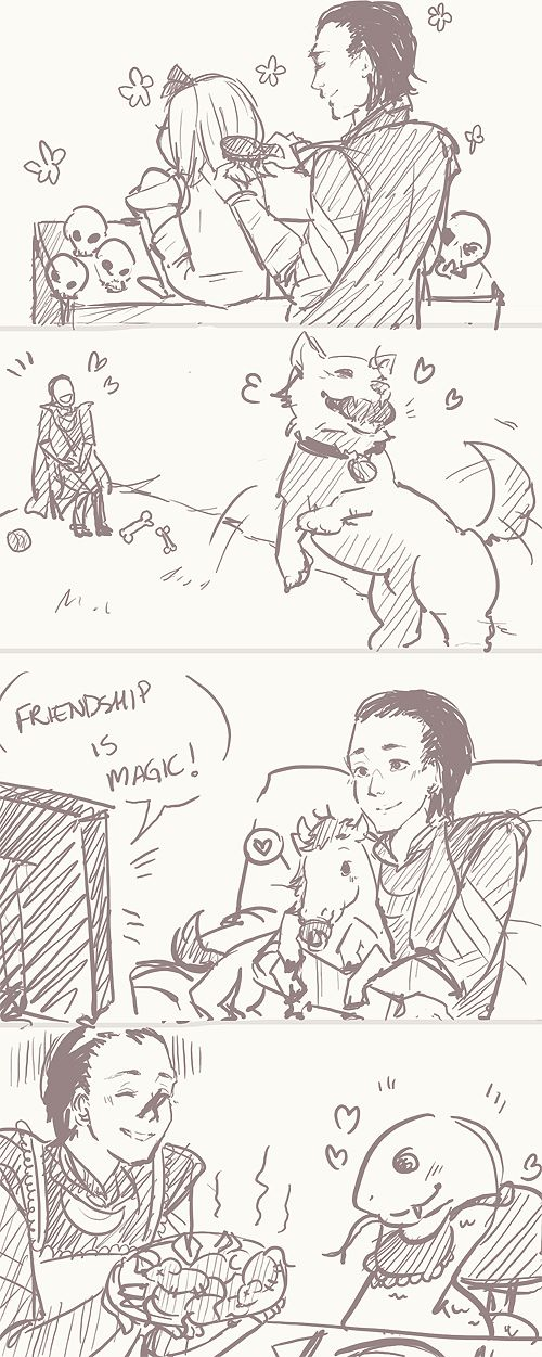 Adorable Mum!Loki with kids Hela, Sleipnir, Fenrir and Jormungand. OH MY GOSH HE'S WATCHING MLP WITH FENRIR. <3