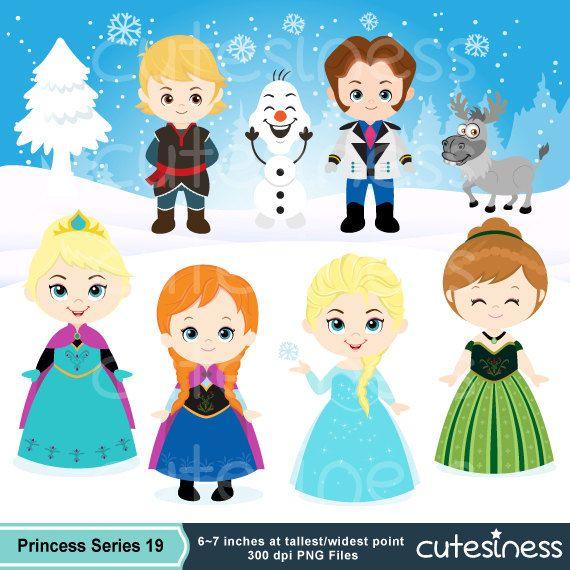 Snow Princess Digital Clipart Snow Princess Clipart by Cutesiness, $6.00