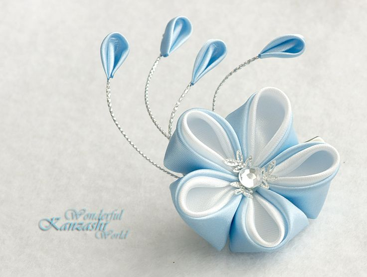Kanzashi Fabric Flower Hair Clips Blue and by wonderfulkanzashi