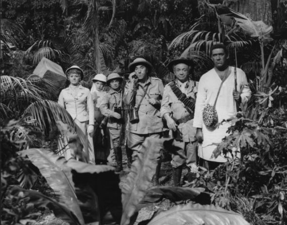 Joan Sims, Jacki Piper, Kenneth Connor, Frankie Howerd, Sidney James & Bernard Bresslaw in Carry On Up The Jungle.