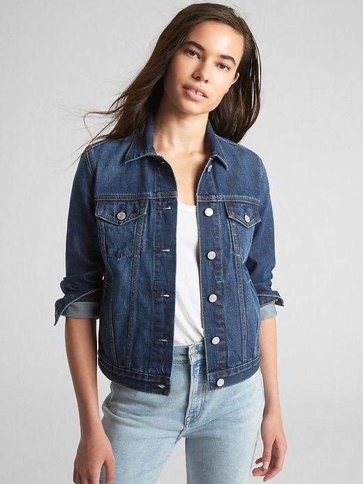 69dbc2a768 Gap Women's Icon Denim Jacket Dark Wash in 2019   Products   Dark ...