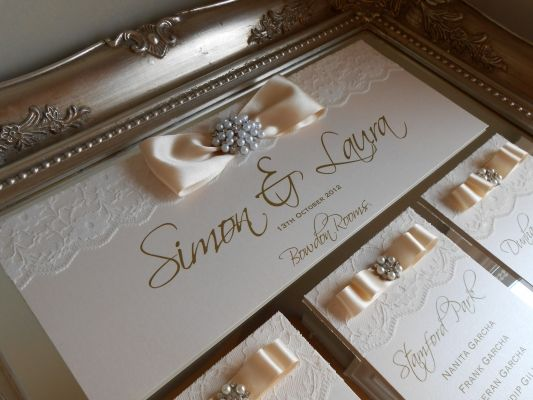 Stunning Grace Ornate Mirror Table Plan with Pearls and lace